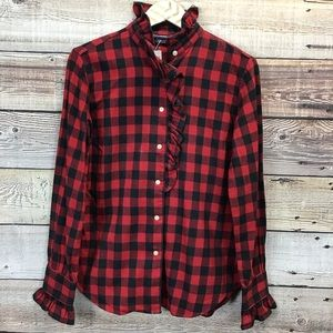 Ralph Lauren Sport Button Front Flannel Red Black